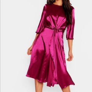 Boohoo Satin Knot Front Kimono Midi Dress